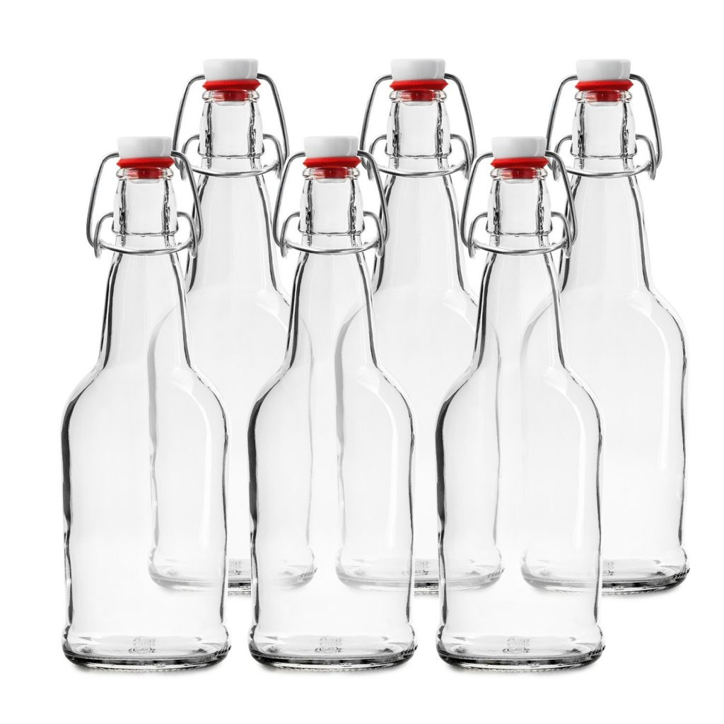 Clear grolsch type beer bottle from Chef's star