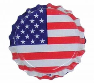 USA flag printed bottle caps