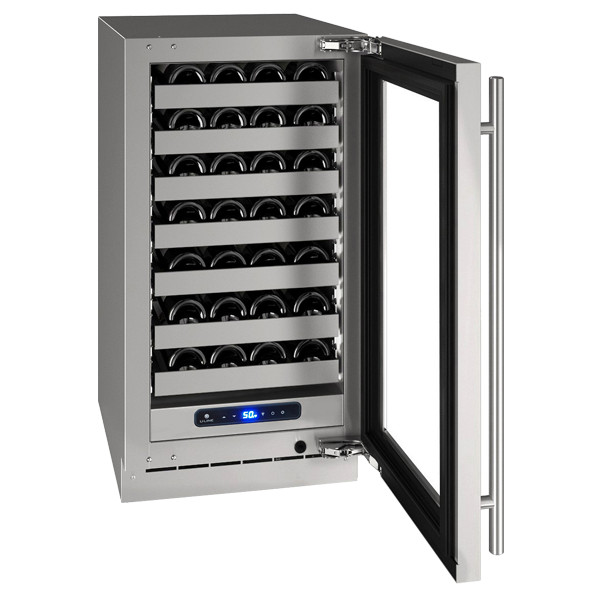 "U-line 5 class 18"" wine refrigerator with open door"