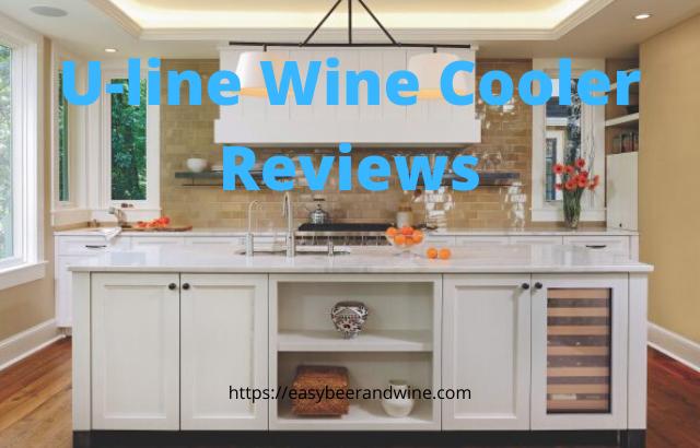 built in u-line wine refrigerator in kitchen island